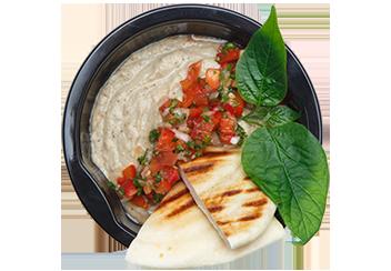 Бабагануш с томатной сальсой. Пита