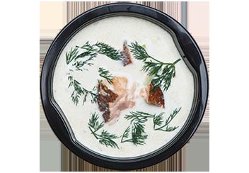 Сливочный суп с копченым лососем