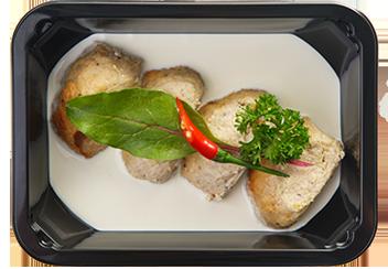 Куриные тефтели фаршированные грибами. Сливочный соус