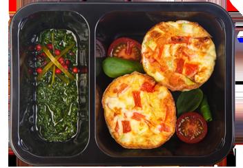 Фритата с сезонными овощами и соусом песто