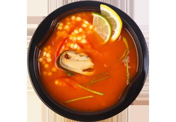Сицилийский томатный суп с птитимом и мидиями