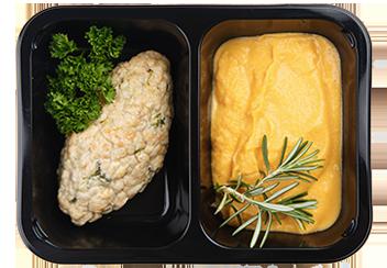 Куриные котлетки с брокколи и овощным пюре