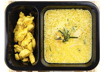 Сырный крем-суп с цыпленком карри