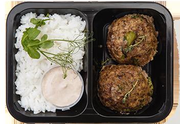 Митболлы из говядины с брокколи под соусом Деми-глясс с рисом