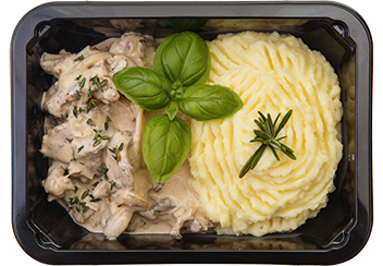 Пикантный бефстроганов с грибами и картофельным пюре