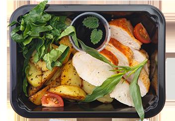 Стейк из цыпленка с печеным картофелем и имбирно-чесночной заправкой