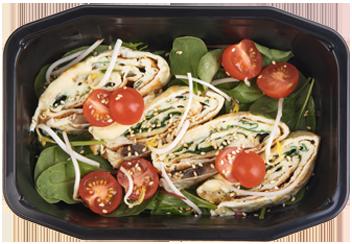 Омлет Томаго со шпинатом, грибами, и сыром