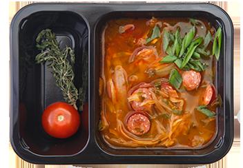 Старочешский суп с копчеными колбасками