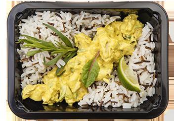 Курица карри по-тайски с бурым рисом
