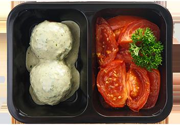 Митболы из говядины в соусе чимичури. Запеченные томаты с прованскими травами