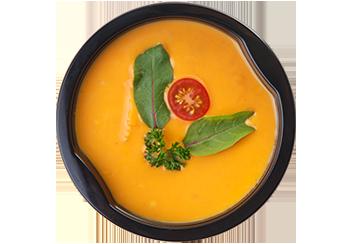 Гороховый крем-суп со слайсами копченого цыпленка