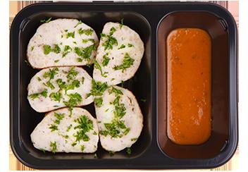 Куриные тефтели фаршированные адыгейским сыром и кинзой. Шашлычный соус