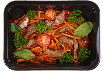 Скоблянка из индейки с вешенками и овощами