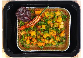Тыквенно-морковный пай с шпинатом и индейкой